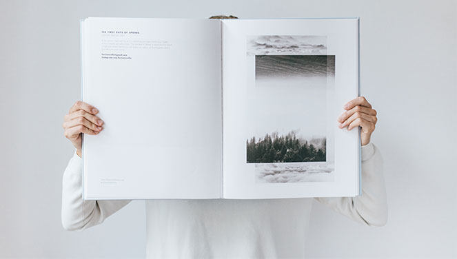 Share Scandinavia art book being held by a woman