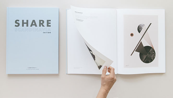 Share art book cover and open