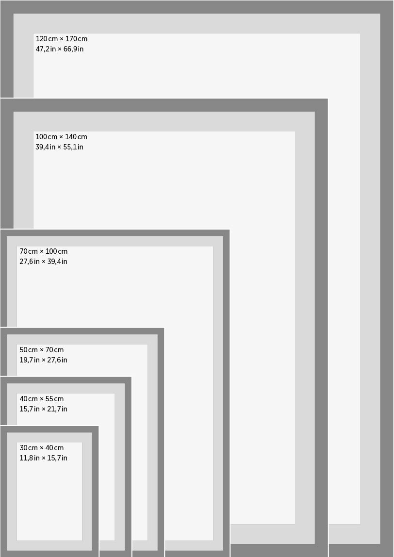 Standard frame sizes for posters