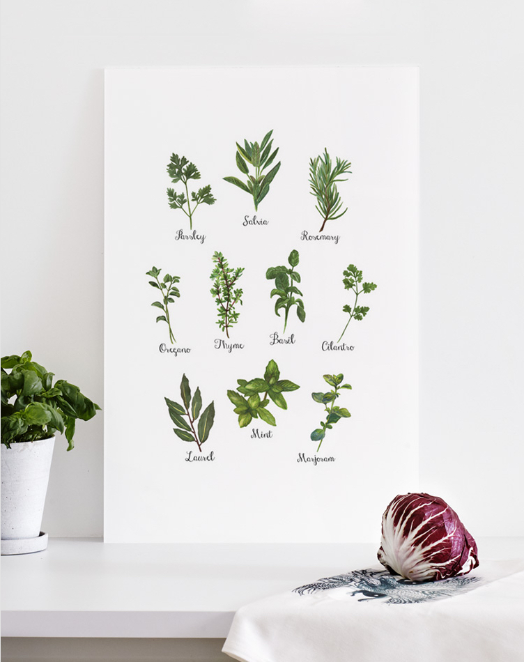 acrylic glass print on table with herbs
