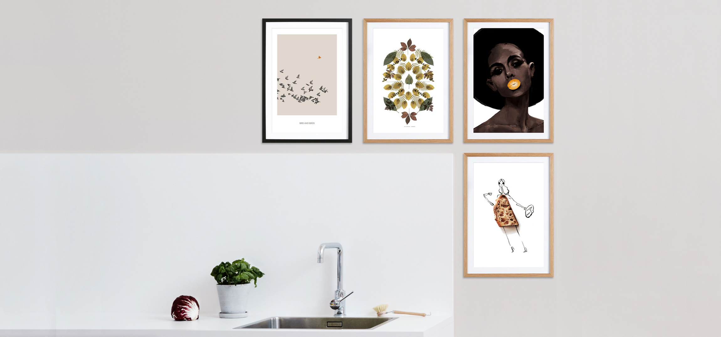 junique framed posters in kitchen with food, nature, birds and woman