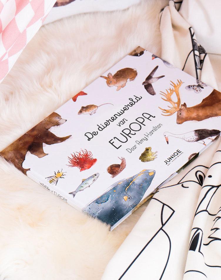 Kinderboek 'De dierenwereld van Europa' door Amy Hamilton op een tapijt