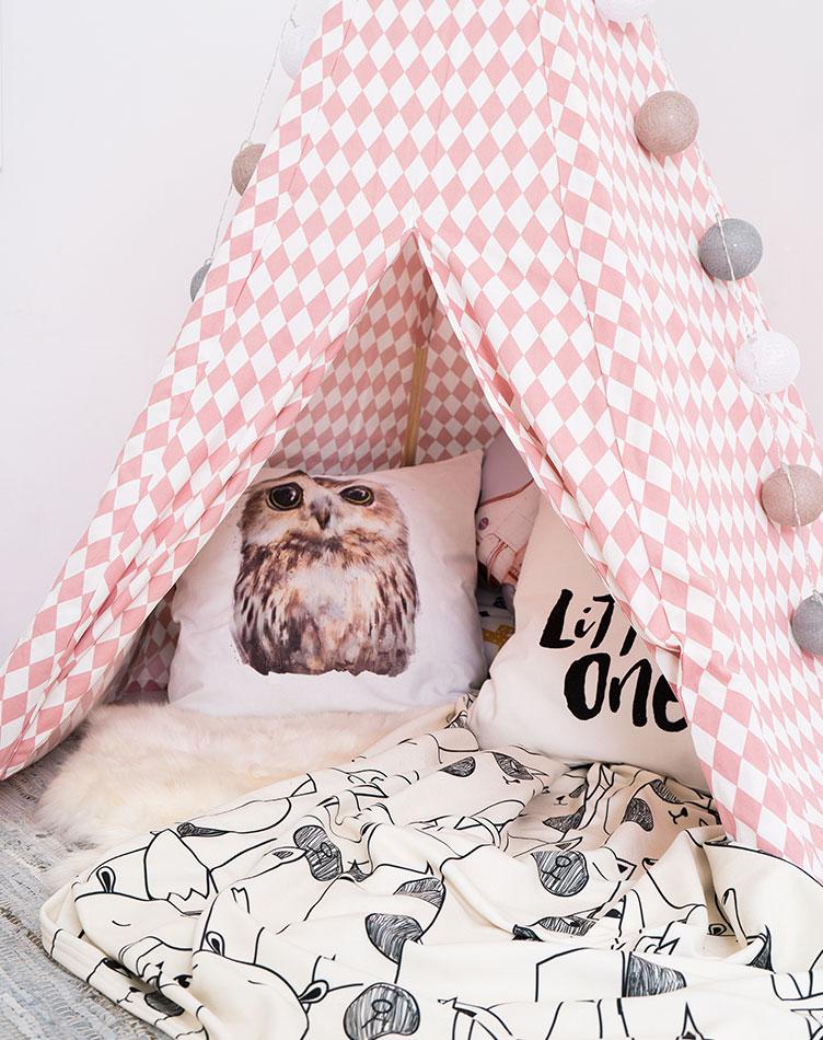 Lese-Tipi für Kinder mit Kissen und Fleece-Decken