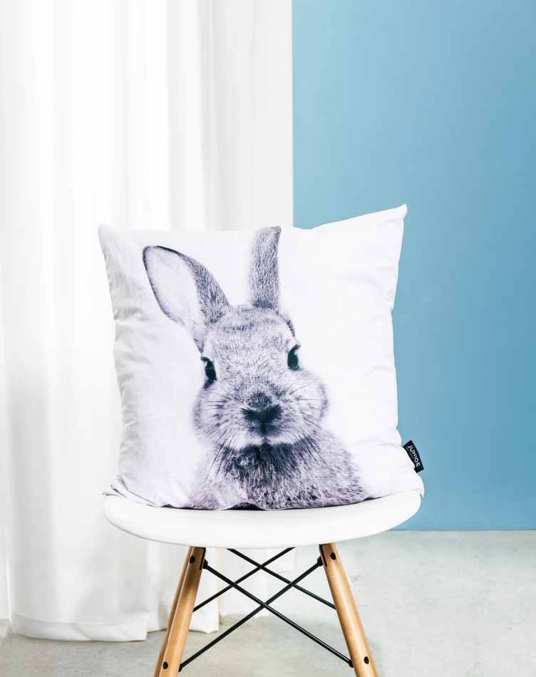 Rabbit cushion on chair