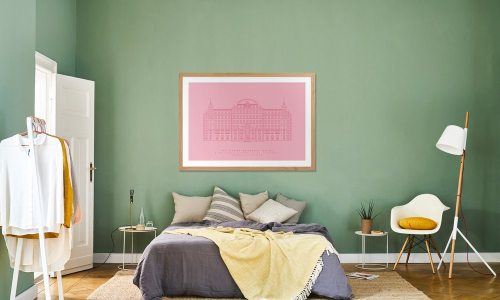 The Grand Budapest Hotel Pink as Poster in Wooden Frame | JUNIQE
