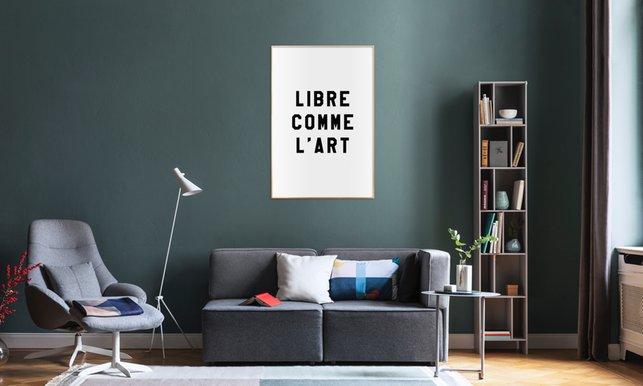 Libre comme lart white en affiche premium par fraiche juniqe