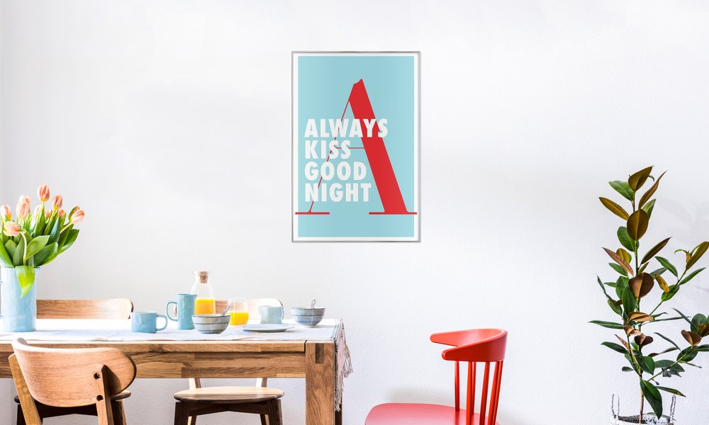 Kiss good night as Poster in Aluminium Frame by Egotrips | JUNIQE