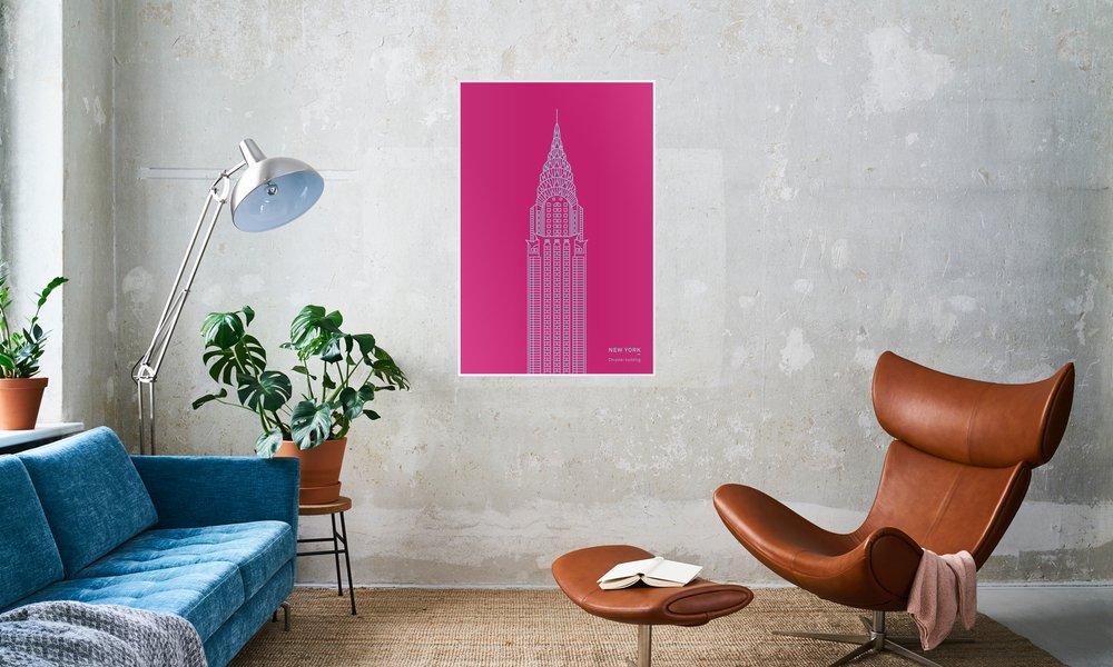 New York Pink as Premium Poster by Sara Signorini   JUNIQE